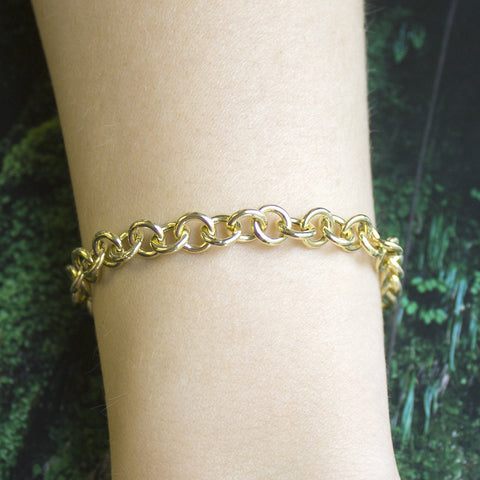 14k Yellow Gold Lightweight 7.6mm Round Link Chain Bracelet, 7.25""