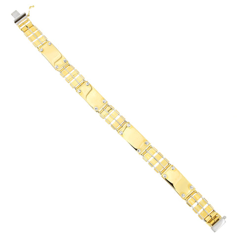 Mens' 14k Yellow and White Gold Two-Tone 11.5mm Railroad Bar Link Bracelet, 8.5 inches