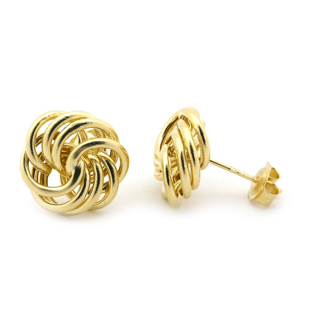 14k Yellow Gold Large Open Love Knot Earrings