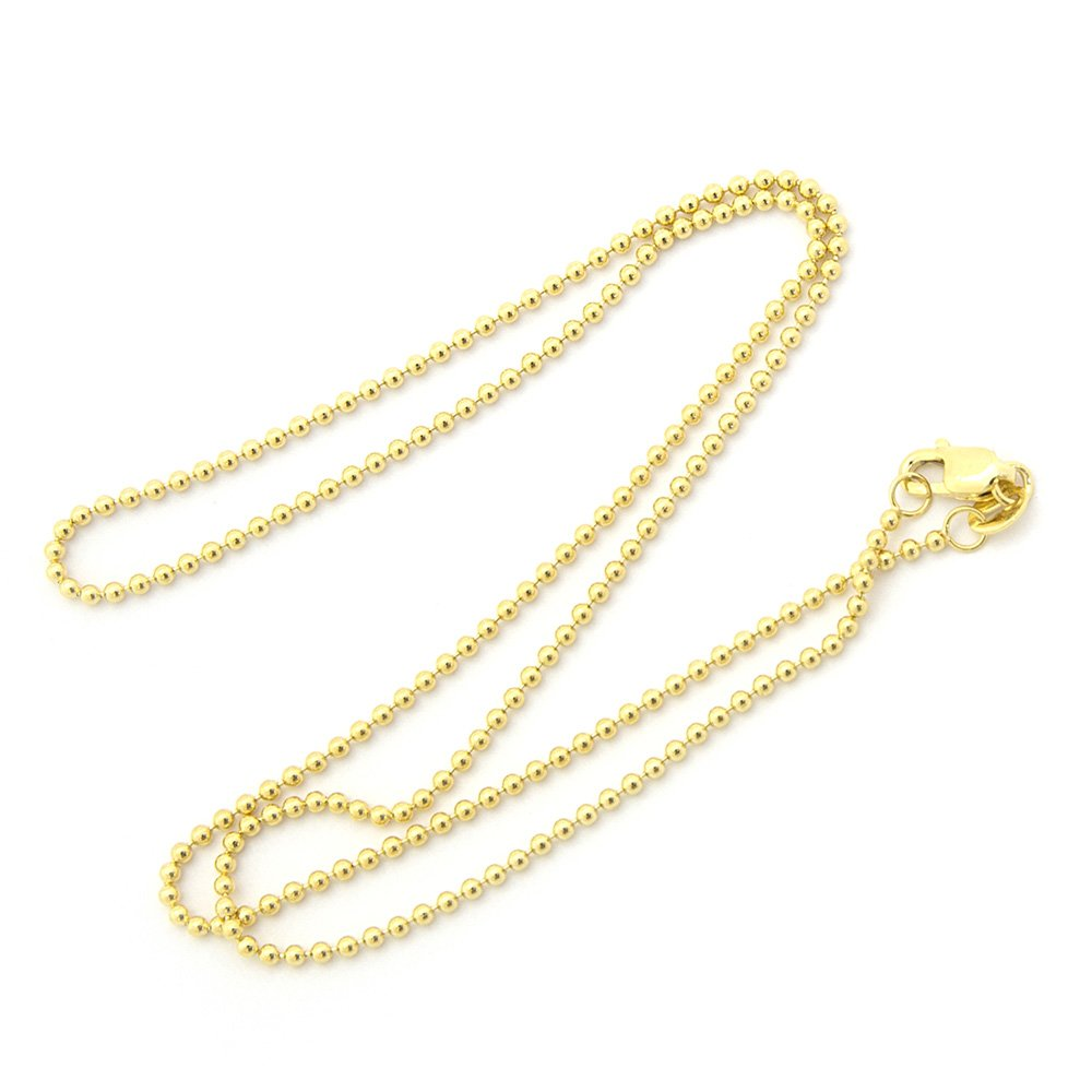 "14k Yellow or White Gold 1.5mm Bead Chain Necklace, 16"" 18"" 20"""