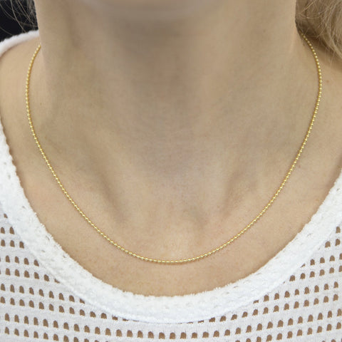 14k Yellow Gold 1.5mm Bead Chain Necklace, 16""