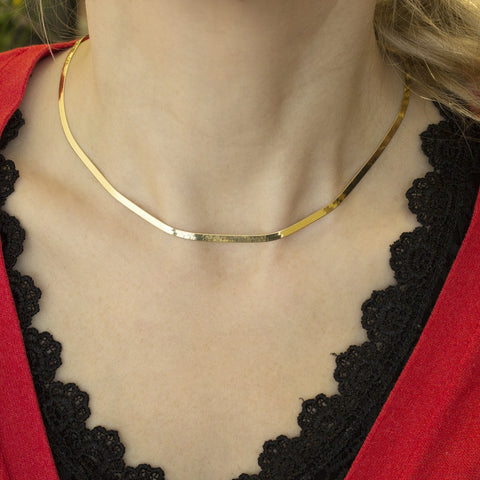 Beauniq 14k Yellow Gold 3.0mm Imperial Herringbone Necklace, 16""