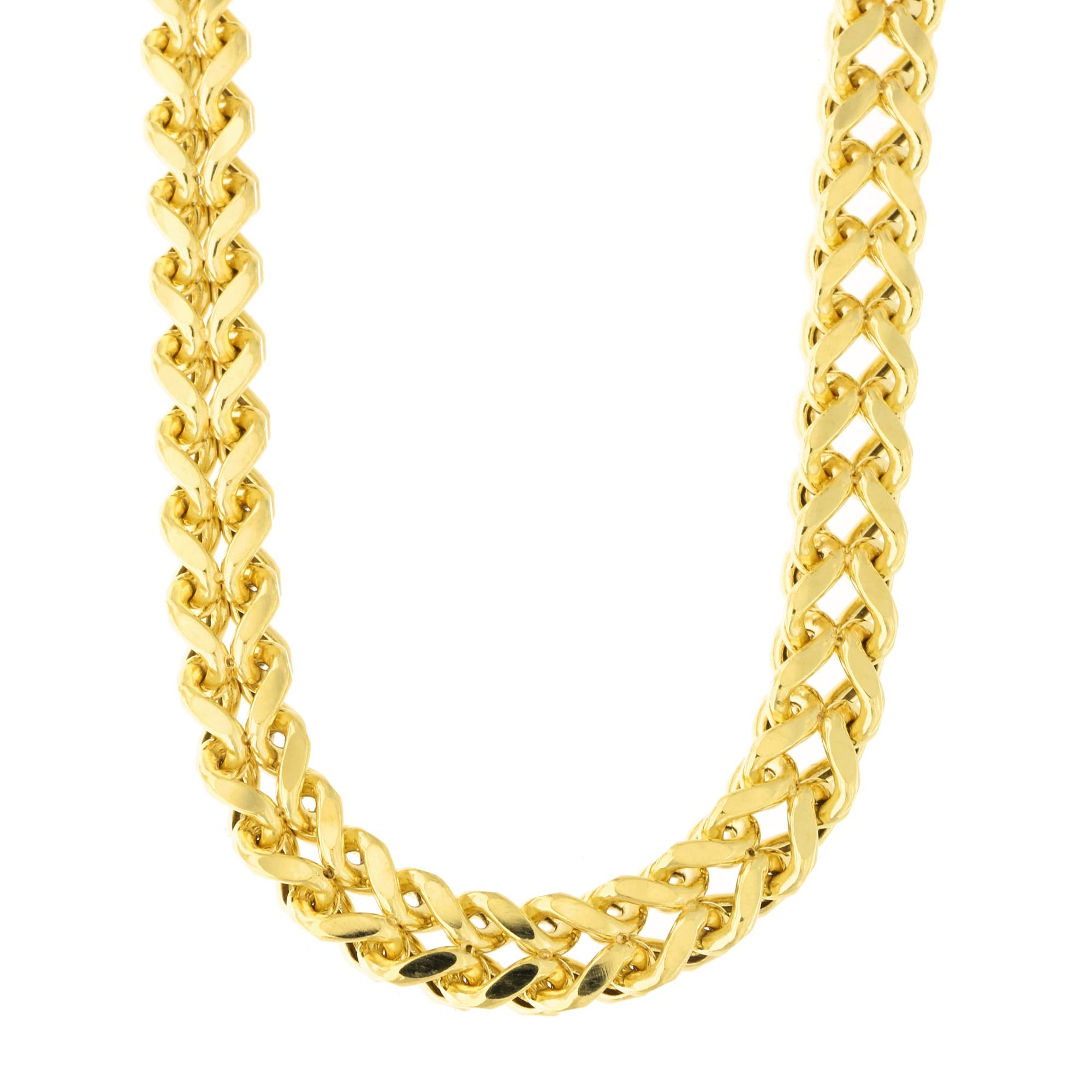 7ff339dc89343 Men's 14k Yellow Gold Lightweight 6.4mm Diamond Cut Franco Chain Necklace  or Bracelet