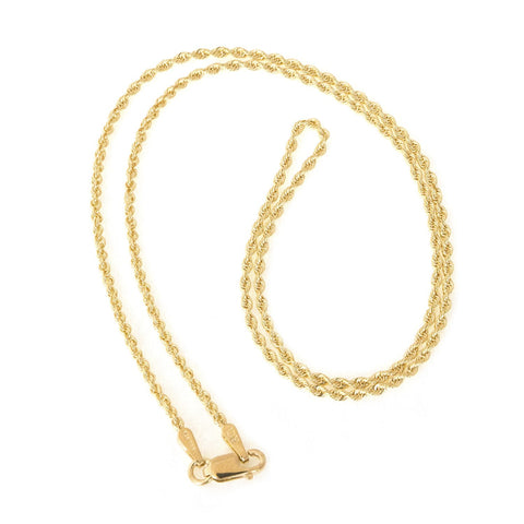 Beauniq 14k Yellow Gold 1.6mm Classic Solid Rope Chain Necklace, 16""