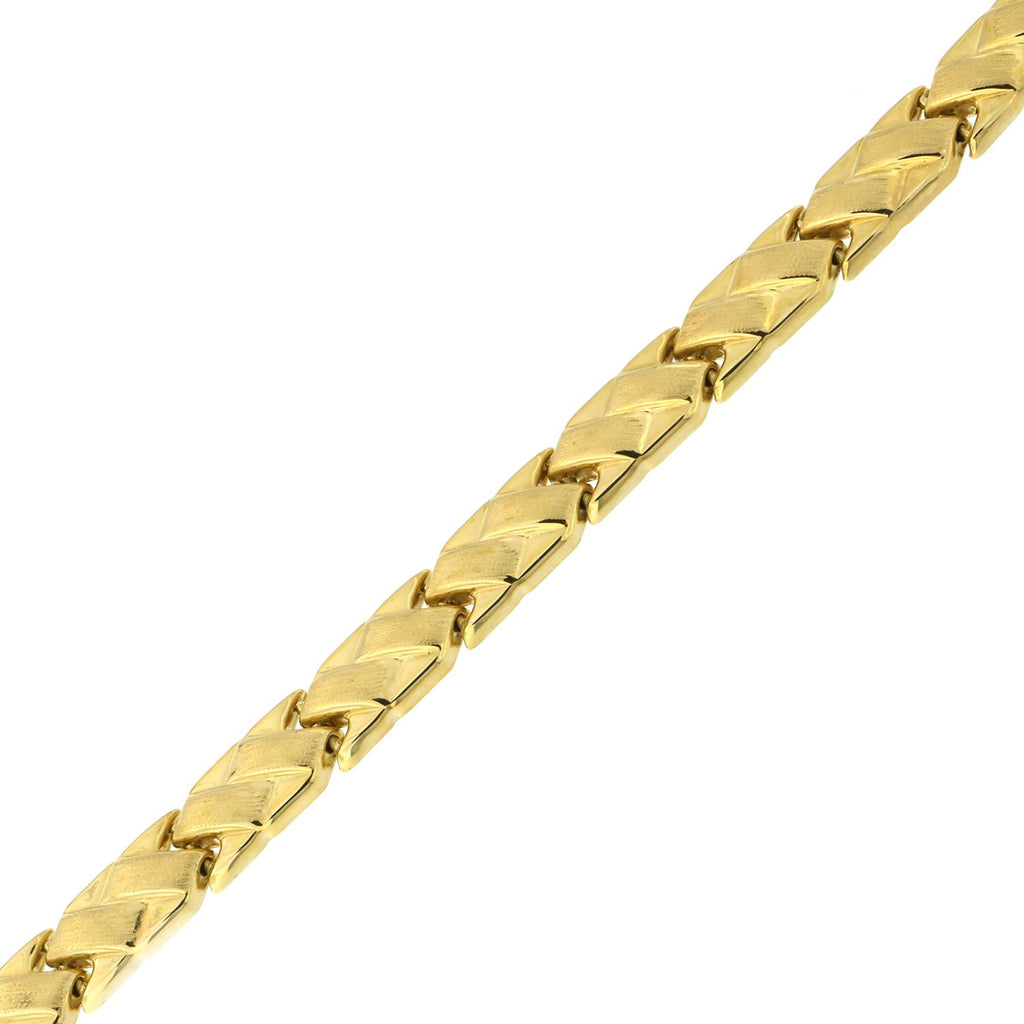 14k Yellow Gold Matte and Polished Basket Weave Link Bracelet, 7.25""