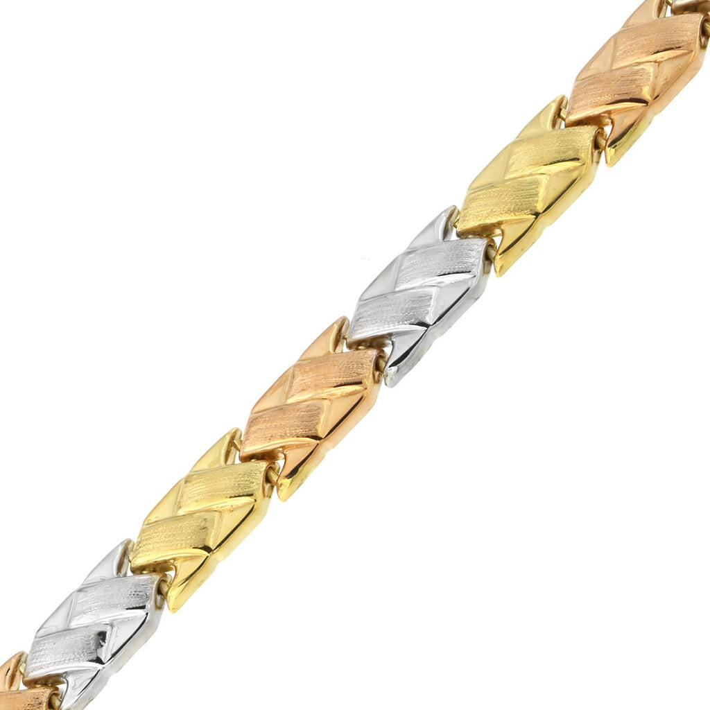 14k Yellow, White and Rose Gold Tri-Color Matte and Polished Basket Weave Link Bracelet, 7.25""