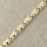 14k Yellow and White Gold Two-Tone Matte and Polished Basket Weave Link Bracelet, 7.25""