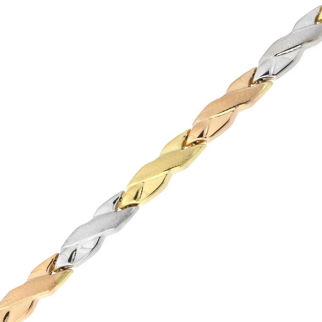 14k Yellow, White and Rose Gold Tri-Color Matte and Polished X Link Bracelet, 7.25""