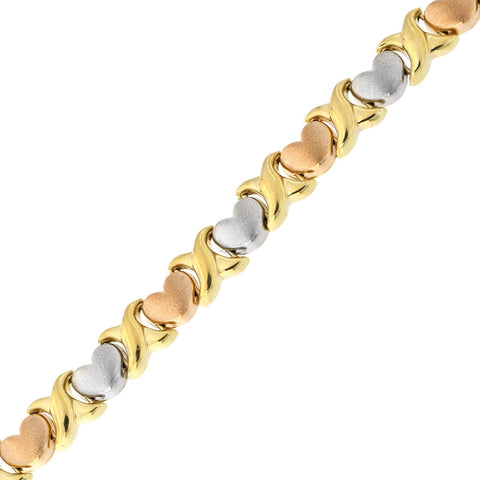 14k Yellow, White and Rose Gold Tri-Color Matte Heart X and O Link Bracelet, 7.25""