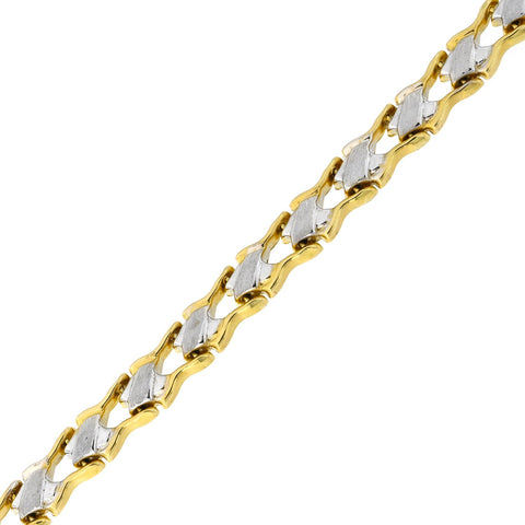14k Yellow and White Gold Two-Tone Matte and Polished Tennis Link Bracelet, 7.25""