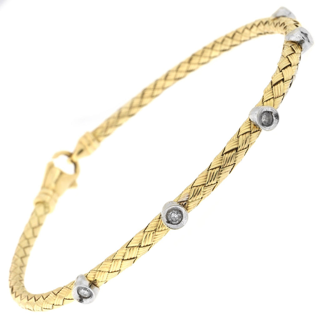 14k Yellow, White or Rose Gold .15ctw Bezel Set Diamond Woven Bracelet, 7.25""