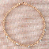 14k Yellow Gold .15ctw Bezel Set Diamond Woven Bracelet, 7.25""
