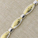 14k Yellow and White Gold Two-Tone Diamond Cut Ovals & Square Stations Link Bracelet, 7.25""