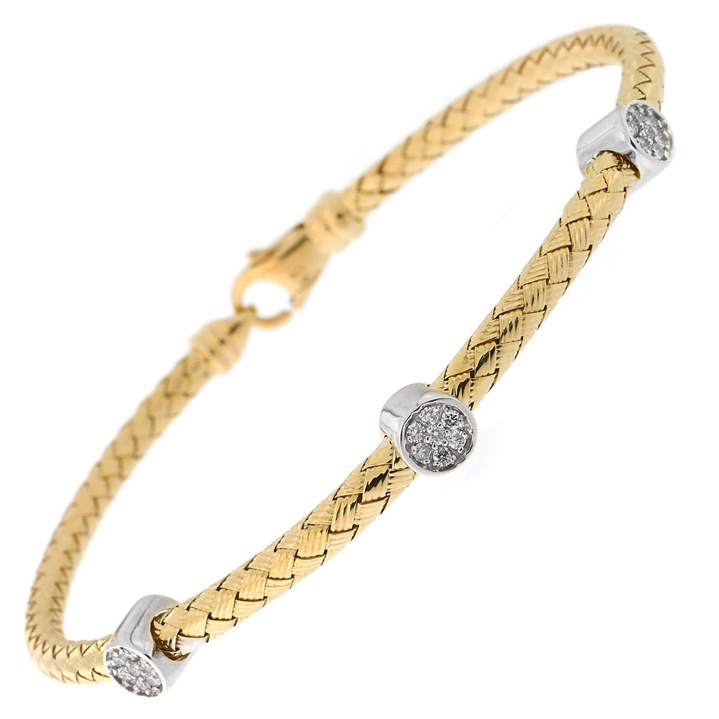 14k Yellow or White Gold .21ctw Pave Diamond Circles Woven Bracelet, 7.25""