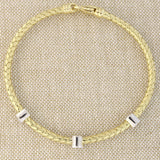14k Yellow Gold .21ctw Pave Diamond Circles Woven Bracelet, 7.25""