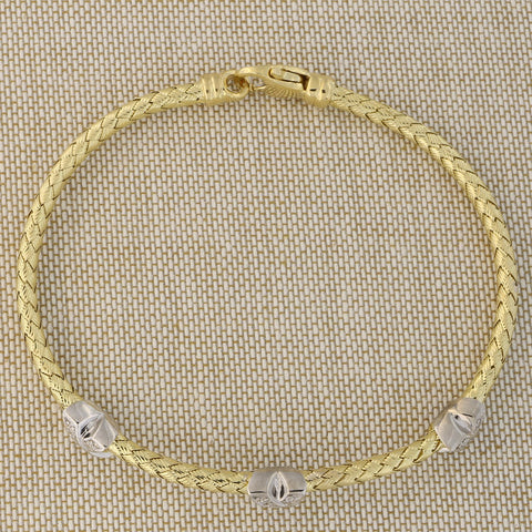 "14k Yellow Gold .15ctw Pave Diamond""X"" Woven Bracelet, 7.25"""