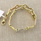 14k Yellow, White and Rose Gold Tri-Color Matte Open Circle and Bar Link Bracelet, 7.25""
