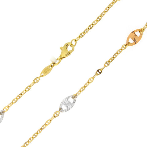 "Beauniq 14k Yellow, White and Rose Gold Tri-Color Diamond-Cut Mariner Link Adjustable Anklet - 9"" - 10"""