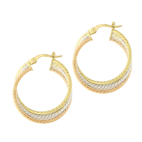 14k Yellow, White and Rose Gold Tri-Color Triple Row Twisted Cable Hoop Earrings, 25.5mm