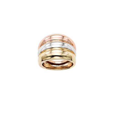 14k Yellow, White and Rose Gold Tri-Color Stacked Band Ring, Size 7
