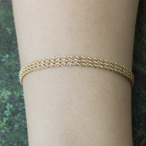 14k Yellow Gold 5.0mm Solid Three Row Strand Rope Bracelet, 7""