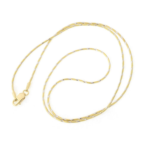Beauniq 14k Yellow Gold with White Gold Accents Two-Tone 1.0mm Snake Chain Necklace, 16""