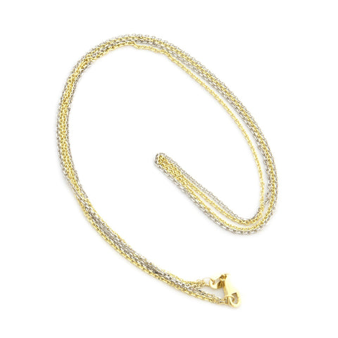 Beauniq 14k Yellow and White Gold Two-Tone 2 Strand 1.1mm Cable Chain Necklace, 18""