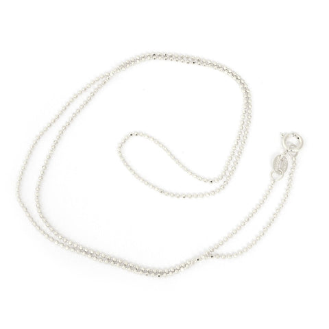 14k White Gold 1.0mm Diamond-Cut Bead Chain Necklace, 16""