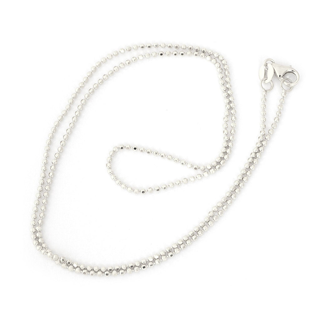 14k White Gold 1.2mm Diamond-Cut Bead Chain Necklace, 16""