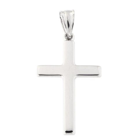 "14k White Gold Polished 1"" Cross Pendant"