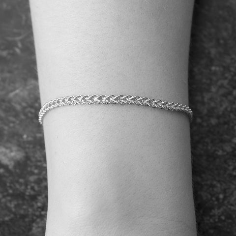 14k White Gold 3.0mm Solid Two Row Strand Rope Bracelet, 7""