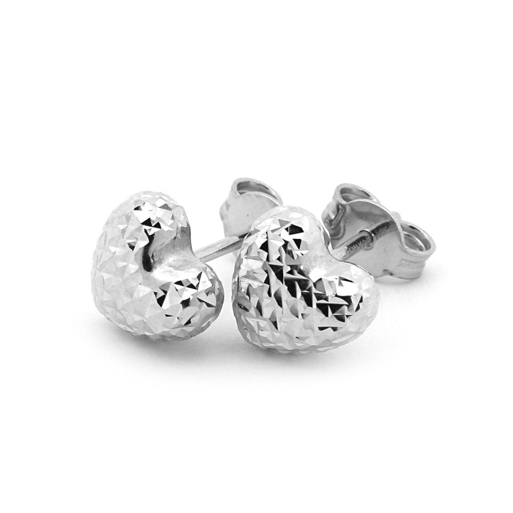 14k Yellow or White Gold Small Diamond Cut Heart Stud Earrings