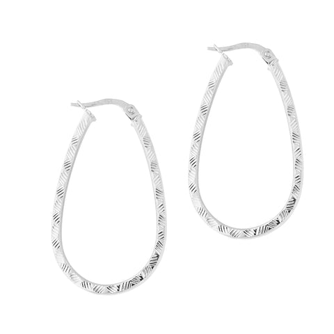 14k White Gold Diamond Cut Patterned Oval Hoop Earrings, 35mm