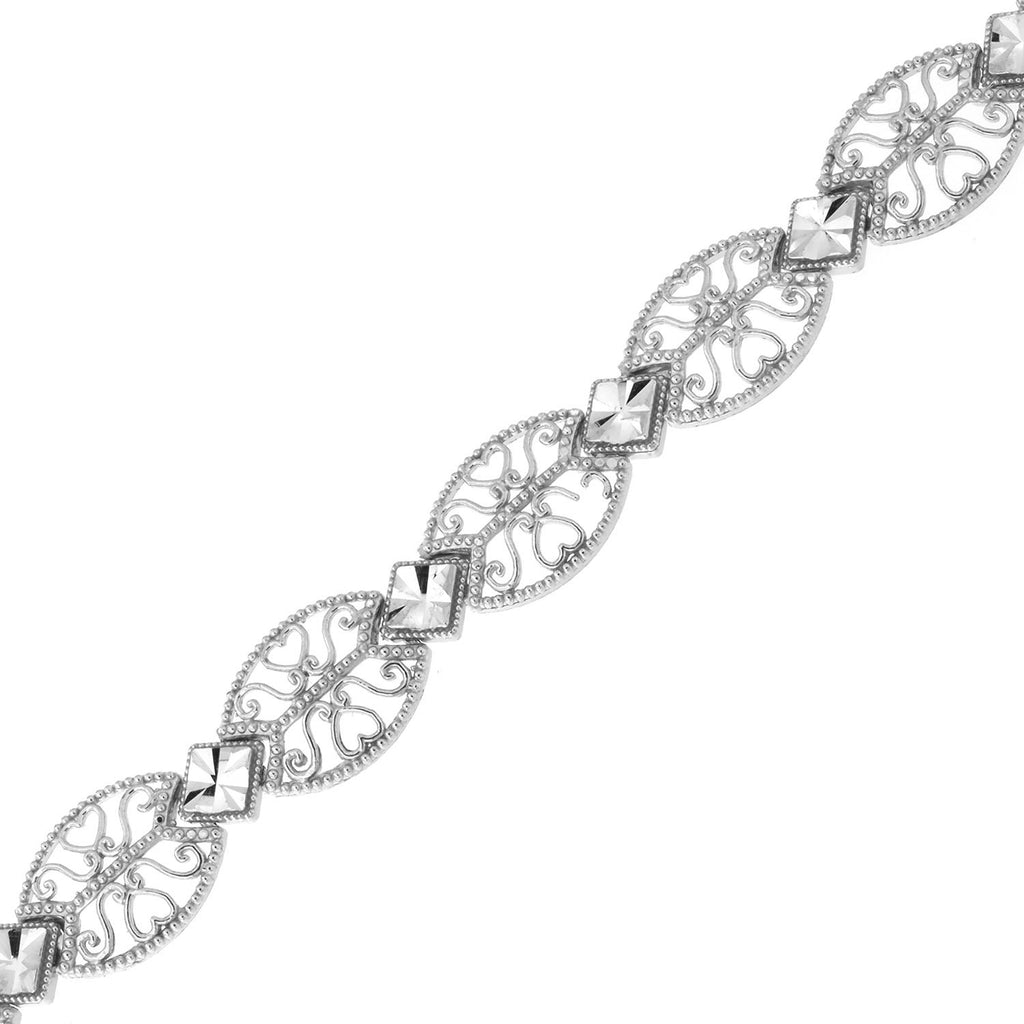 14k White Gold Diamond Cut Squares and Filigree Ovals Edwardian Style Link Bracelet, 7.25""
