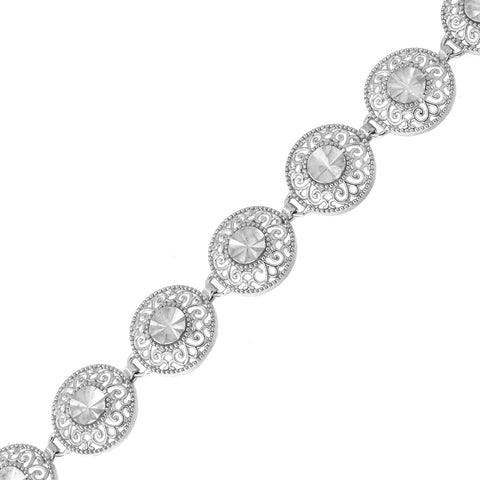 14k White Gold Diamond Cut Filigree Disc Edwardian Style Link Bracelet, 7.25""