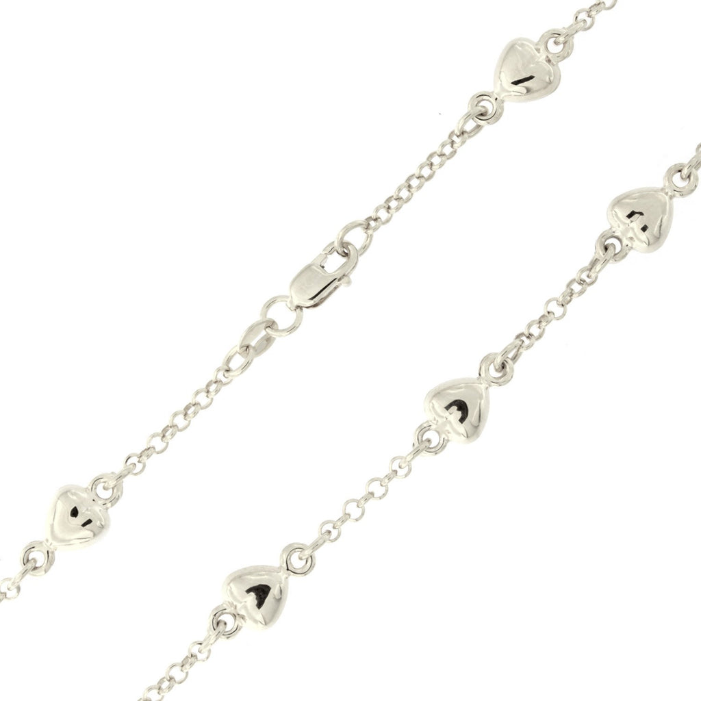 14k White Gold Heart Station Chain Bracelet, 7""