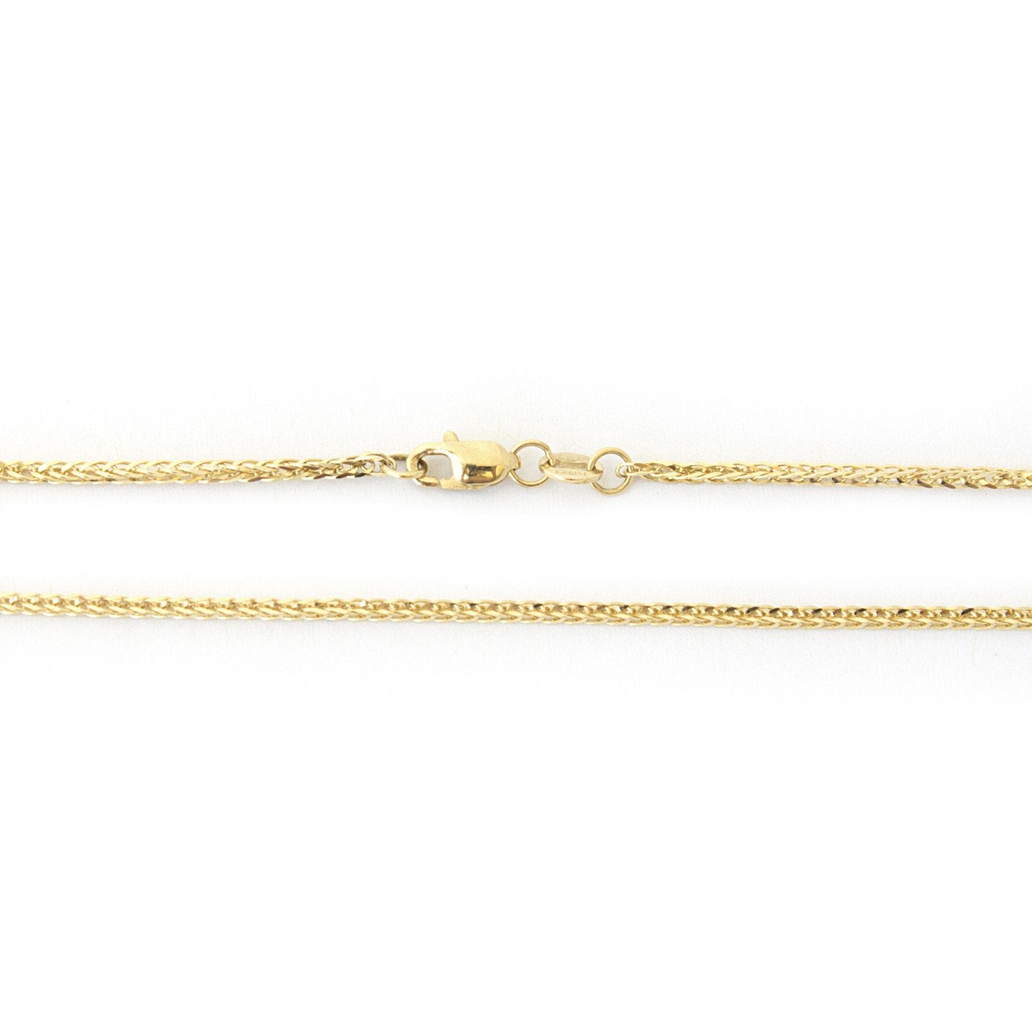 """14k Yellow Gold 1.6mm Square Wheat Chain Necklace, 18"""""""