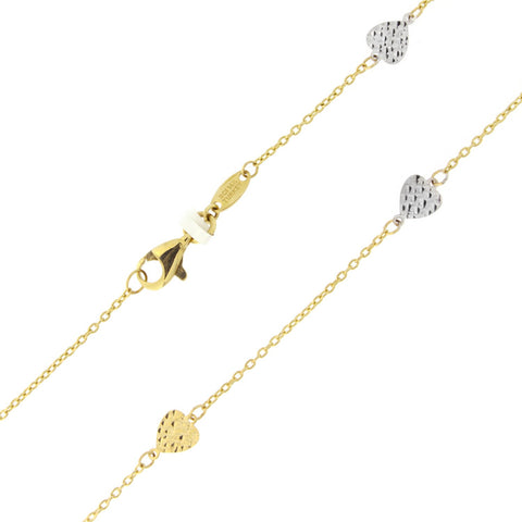 "Beauniq 14k Yellow and White Rose Gold Two-Tone Diamond-Cut Heart Adjustable Anklet - 9"" - 10"""