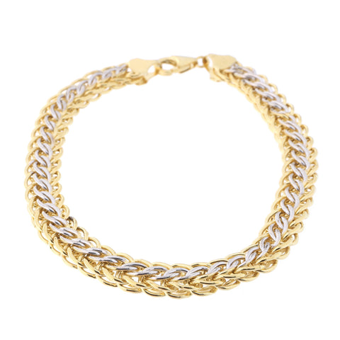 14k Yellow and White Gold Two-Tone Reversible Woven Bracelet, 7.5""