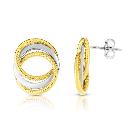 14k Yellow and White Gold Two Tone Twisted Cable Interlocking Open Circle Stud Earrings