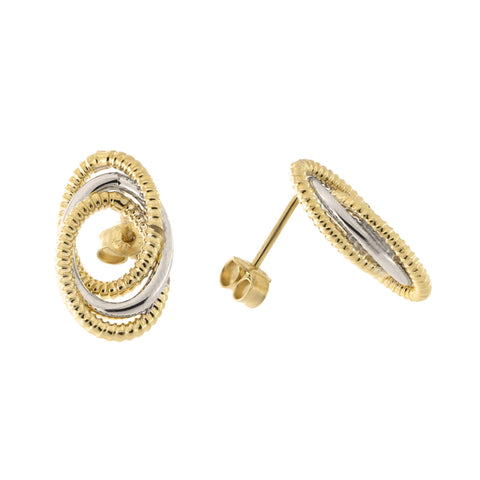 14k Yellow and White Gold Two Tone Twisted Cable Interlocking Open Oval Stud Earrings