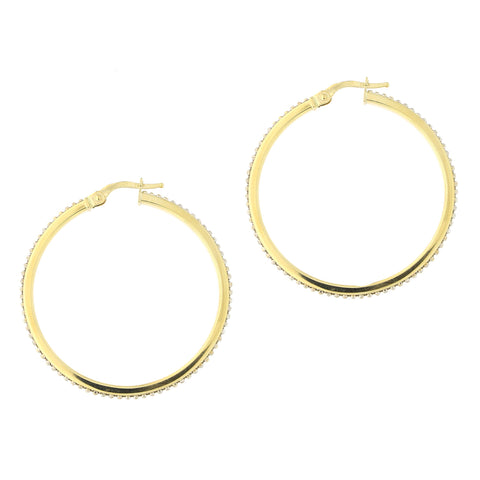 14k Yellow and White Gold Two Tone Beaded Hoop Earrings, 34mm