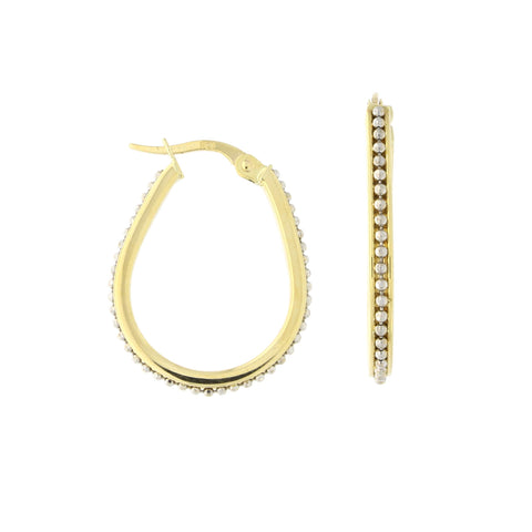 14k Yellow and White Gold Two Tone Beaded Oval Hoop Earrings, 24mm