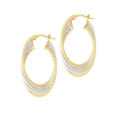 14k Yellow and White Gold Two-Tone Four Row Twisted Cable Oval Hoop Earrings, 32mm