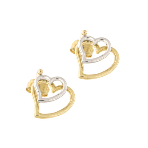 14k Yellow and White Gold Two Tone Double Open Heart Stud Drop Earrings