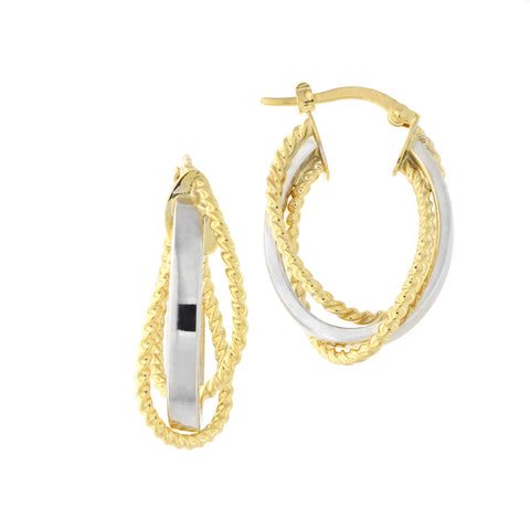 14k Yellow and White Gold Two-Tone Criss Cross Twisted Fancy Oval Hoop Earrings, 25mm