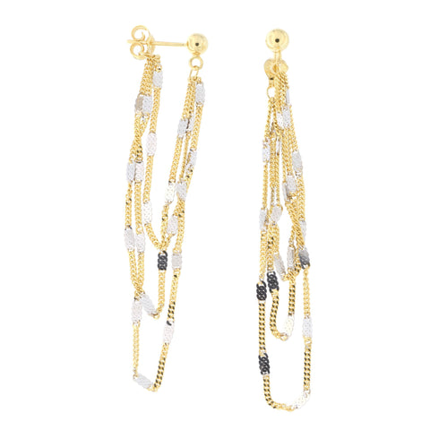 14k Yellow and White Gold Ball with Two-Tone Fancy Gourmette Chain Dangle Earrings