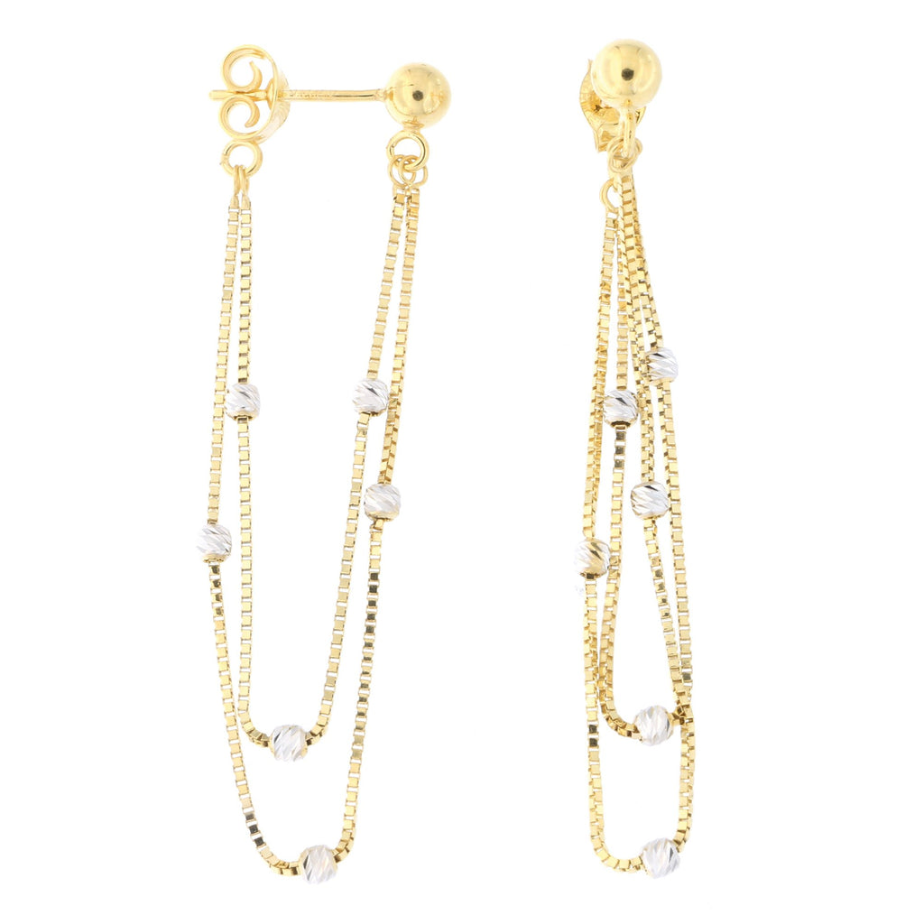 14k Yellow and White Gold Ball with Two-Tone Beaded Box Chain Dangle Earrings