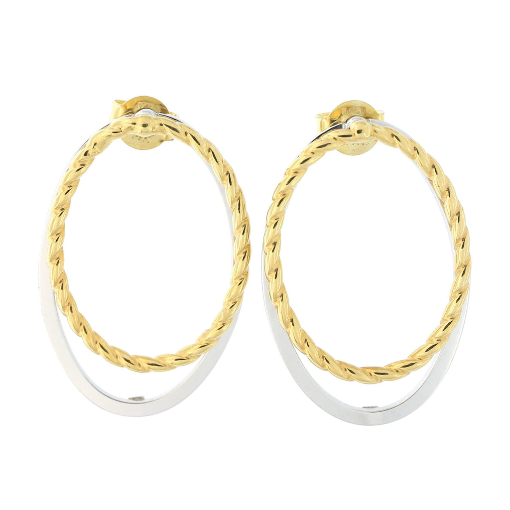 14k Yellow or Two-Tone Gold Open Cable Oval Dangle Earrings with Jackets