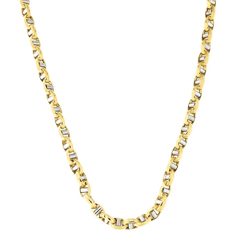 Mens' 14k Yellow and White Gold Two-Tone 7.3mm Puffed Mariner Chain Necklace, 22 inches